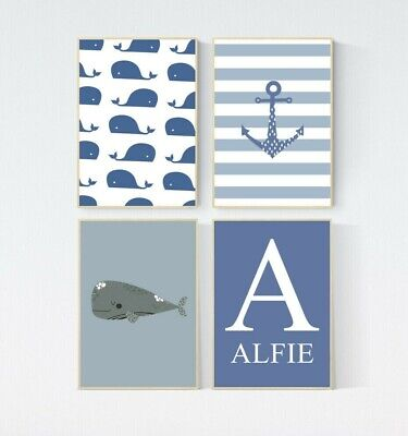 4 Prints Nautical Whale Seaside Personalised Nursery Boy Baby Wall Art Pictures