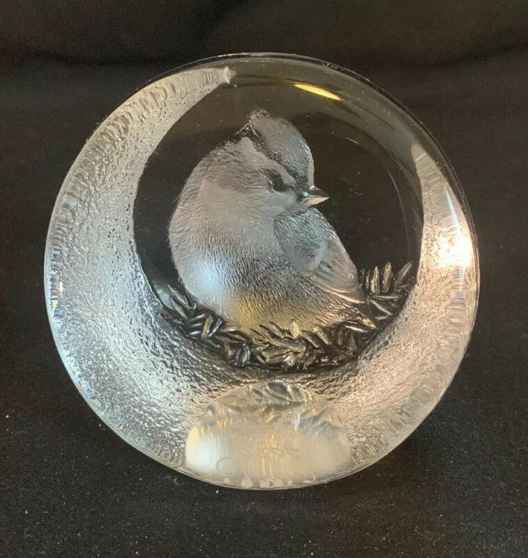 Mats Jonasson Signature Collection Glass Bird Paperweight Signed