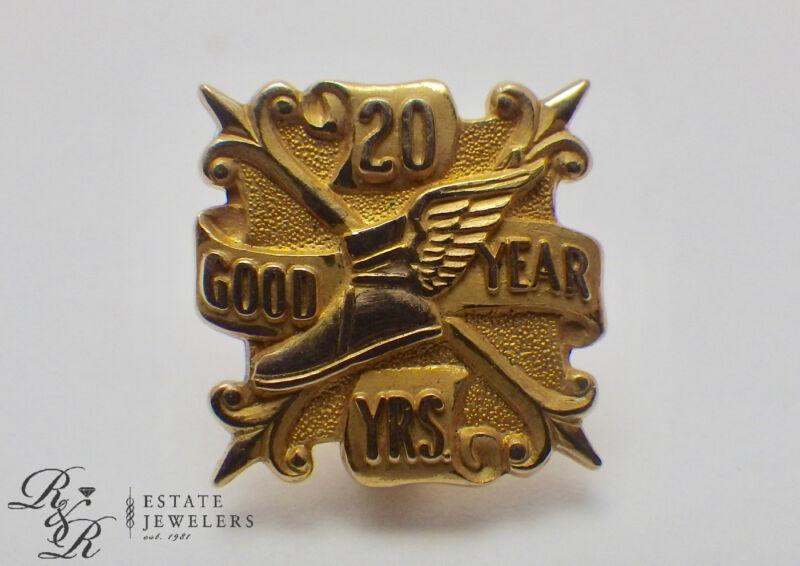 Vintage Estate 10K Yellow Gold GOODYEAR 20 Year Service Pin 2.8 Grams