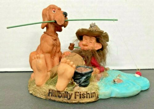 HillyBilly & Dog Fishing Figurine Statue Unique & Rare