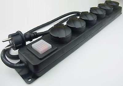 6-fach Outdoor Schuko Steckdosenleiste mit beleuchtetem Schalter IP44 für Außen