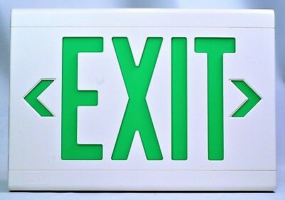 Hubbell Dual-lite Lxugw Exit Sign White With Green Letters 120277vac New