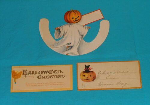 vintage HALLOWEEN ghost PLACE CARD and GREETING CARD LOT