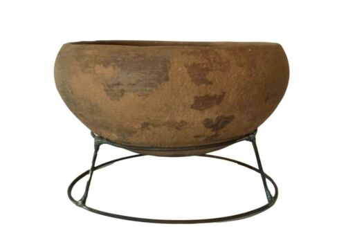 """Neolithic South East Asian Footless Terracotta Food Bowl w Stand 7"""""""