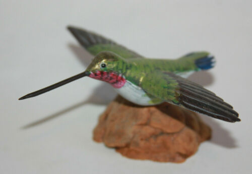 Vtg Hummingbird Figurine - Hand Painted & Carved Wood Bird Figurine Statue Gift