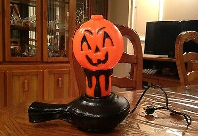 Rare 1972 Bayshore Halloween Blow Mold Pumpkin Candle Lights Up VGC