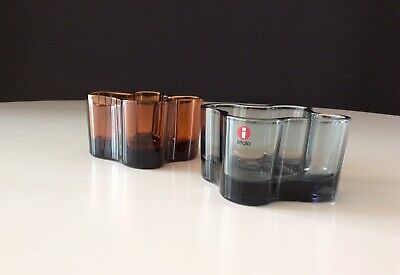 Alvar Aalto Collection For iittala Finland 2 Glass Votive Candle Holders
