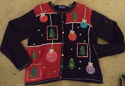 Vintage Womens UGLY CHRISTMAS SWEATER Large Prize Winner Christmas Balls Sequins - Ugly Sweater Prizes