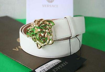 Authentic Versace Classic White Leather Gold Medusa Buckle Belt 90/36 30-32