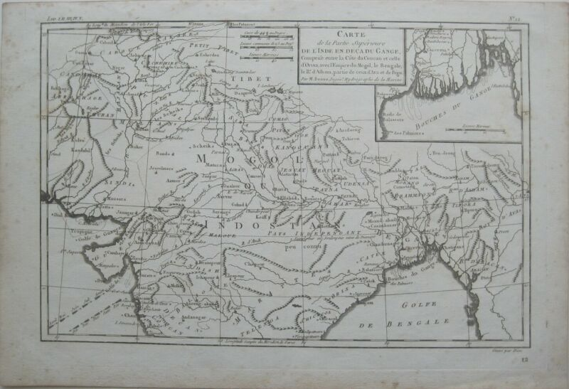 Original 1820 Bonne Map NORTHERN INDIA Bengal Allahabad Mogol Ganges River Tibet