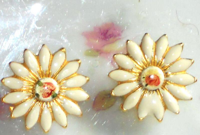 Vintage Earrings Guilloche Enamel Floral Filigree Cloisonne Pierced Daisy #1063F