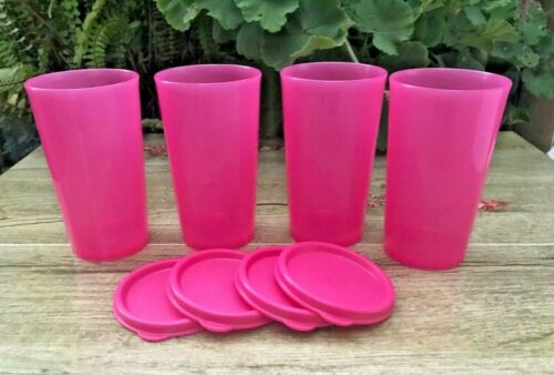 Tupperware Set of 4 Small Tumblers Straight Side Cups Pink 11oz New