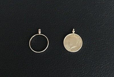 TWO KENNEDY HALF DOLLARS 50 CENT  COIN HOLDER SCREW TOP BEZELS NECKLACE PENDANTS (Coin Necklace Holder)