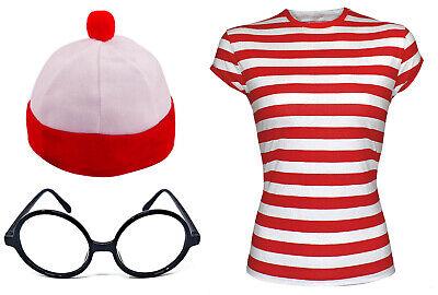 Men's Red & White Strips T-Shirt Kit Costume Stag Do Fancy Hat With Nerd - Nerd Kostüm Kit