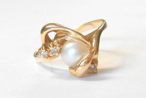 Beautiful Diamond & 5 mm Cultured Pearl 14K Yellow Gold Ladies Ring Size 6.5