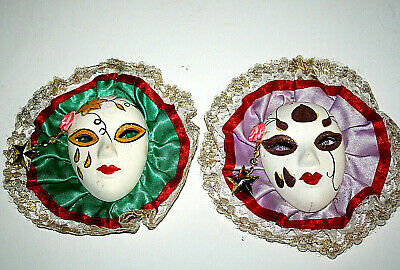 Set of 2 Small Mardi Gras Face Mask Clowns Porcelain Wall Hanging