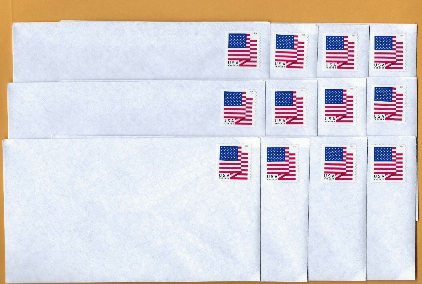 12 Forever Stamped Envelopes. #6 3/4  Security Privacy Tint. 3 5/8 x 6 1/2 inch