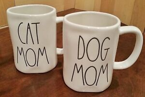 NEW RAE DUNN hard to find DOG MOM and CAT MOM mugs($35 each)