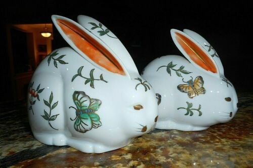 Bunny Rabbits, Porcelain Set of 2 Beautiful Butterflies, Easter Decoration Japan