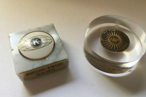 Vintage Kiwanis Paperweights Golden Anniversary 1968 Wheeling WV 1978 Marble Old