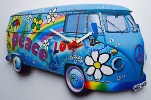 Camper Van Wall Clock Peace & Love - Blue - VW20