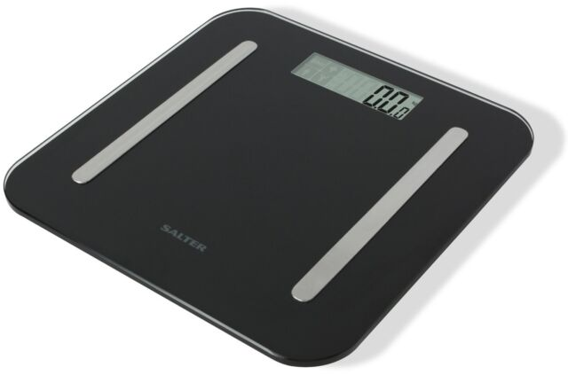 Salter Weighing Scale Black Glass StowAWeigh 9147 Body Fat Analyser Bathroom
