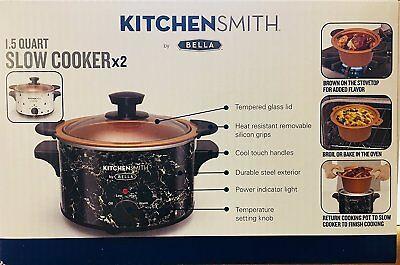 1.5 Quart Ceramic - KitchenSmith by BELLA 1.5 Quart Slow Cooker Ceramic Pots 2-pk Fondue NEW