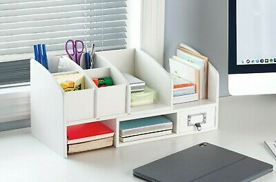 Desk Organizer Drawer Desktop Caddy Holder Box Wood Spacesaver Expanding Storage