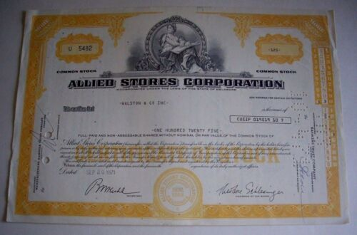 ALLIED STORES CORPORATION, 125 SHARES STOCK CERTIFICATE, ISSUED SEP. 20, 1971