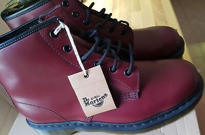 Dr Martens Unisex 101 Cherry Red Smooth Leather 6 Eye Ankle Boots UK size 9.5