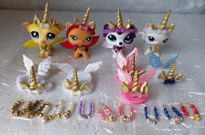Littlest Pet Shop LPS Custom Gold Unicorn Accessories Unicorn Horn Wings NO PETS