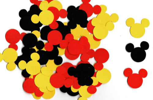"""Mickey Mouse Confetti, 120 pcs - Mickey Mouse Die Cuts 1"""", red, black, yellow"""