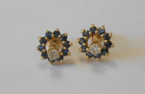 Fabulous Pair of 14K Yellow Gold Diamond Stud Earrings w/ Sapphire Jackets