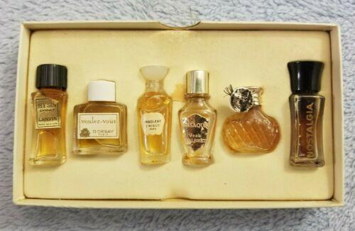 Antique 11 French Mini Bottle Perfume Set w/ Mini Box & Drawers - Paris