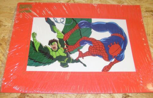 Marvel  Spiderman Animation Print Stan Lee 1994 Marvel Matted Cell Print !