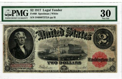 1917 $2 Fr 60 United States Legal Tender Note PMG VF-30 Graded US Currency #2064