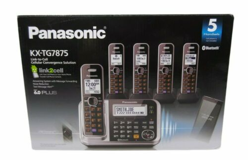 Panasonic KX-TG7875s Link2Cell 6.0 Bluetooth Cordless 5pc Phone Silver
