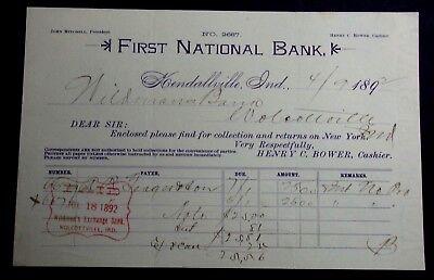 1892 LETTERHEAD FNB KENDALLVILLE TO WILDMANS EXCHANGE BANK WOLCOTVILLE INDIANA