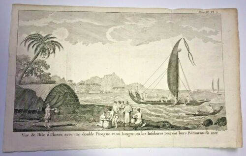 TAHITI ULIETEA 1785 SYDNEY PARKINSON LARGE ANTIQUE ENGRAVED VIEW 18TH CENTURY