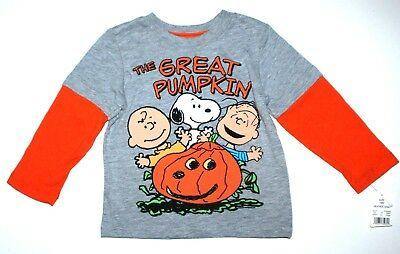 Langarmshirt USA Peanuts 74-80 SNOOPY Halloween Kürbis grau Charlie Brown neu  ()