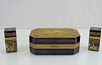 GIANCARLO BEGGOTTI MURANO GLASS BOX - SET 3 BOXES GOLD DORE BRONZE Italy (Giancarlo Glasses)