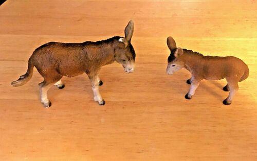 Schleich Donkey/Burro Brown Animal Figure & Baby Light Play Wear On Edges
