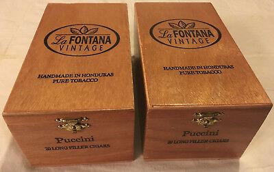 La Fontana Vintage 2 Piece Lot Puccini Finish Coat Solid Wood Cigar Boxes