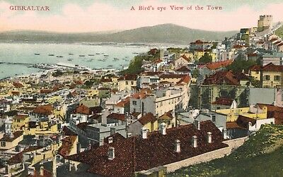 Gilbraltar,British Oversees Territory,Birds Eye View of Town & Port,Color,c.1909