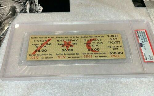 WOODSTOCK PSA 10 RARE 1969 MAIL ORDER $18.00 3 DAY TICKET PASS Jimi Hendrix TYA