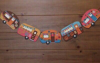 "Vintage Caravan Style Bunting 5 vans hippy peace love theme 60"" handcrafted"
