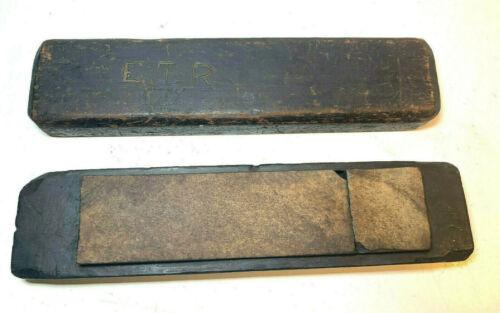 VTG ANTIQUE 1885 PIKES WASHITA ARKANSAS ? STONE FINE HONE SHARPENING STONE WOOD