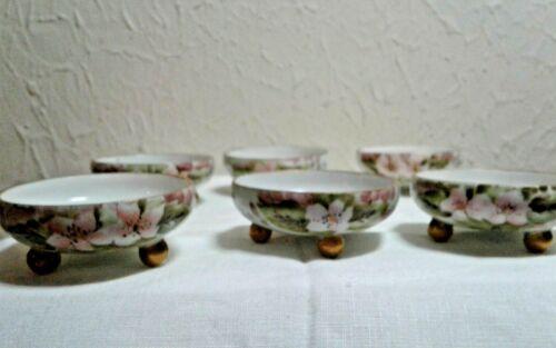 Set of 6 Antique Oscar / Edgar Gutherz Austria Porcelain Open Salt Cellars