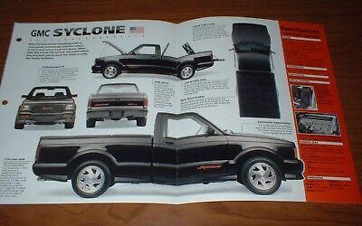 ★★1992 GMC SYCLONE ORIGINAL IMP BROCHURE SPECS INFO 92 91 1991 TURBO - 1994 Chevy S10 Blazer Specs