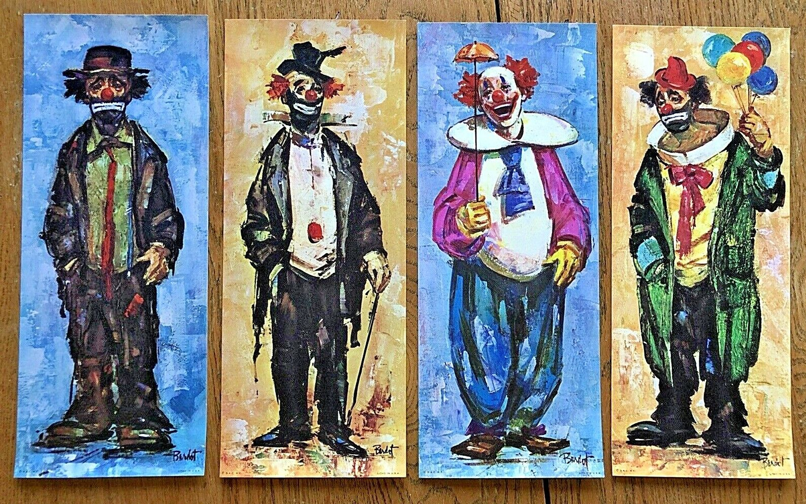 NEW 4 Vintage Bardot Clown Prints Ready To Frame, About 6 X 15 , Mid Century - $4.00